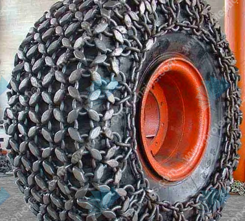 Steel mesh 4x4 tire protection chain used on wheel loader/tractor