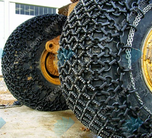 Tire protection chains in mining/quarrying/steel works/scrap