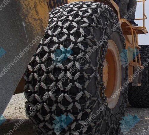 Tire protection chains in mining quarrying steel works scrap and slag handling
